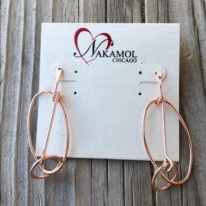 Nakamol BNWT Oblong Double Ring Rose Gold Earrings
